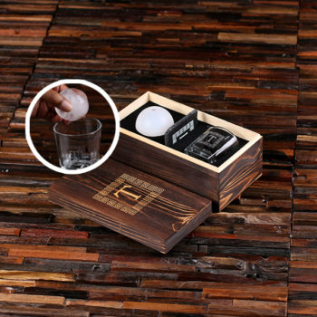 Whiskey Rocks Glass, Ice Ball & Coaster with Engraved Box