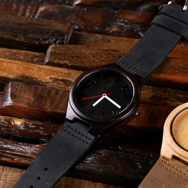 Onyx Personalized Bamboo Watch with Leather Straps T-025401-NB