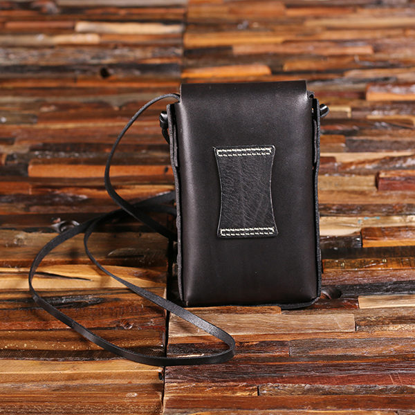 Personalized Metal Flask & Black Leather Carrying Pouch T-025477-Black
