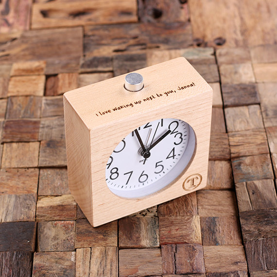Personalized Wood Quartz Alarm Clock with Engraved Quote T-025383