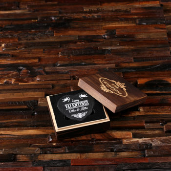 Heart-Shaped Wedding Favor Coaster Set & Engraved Wood Box