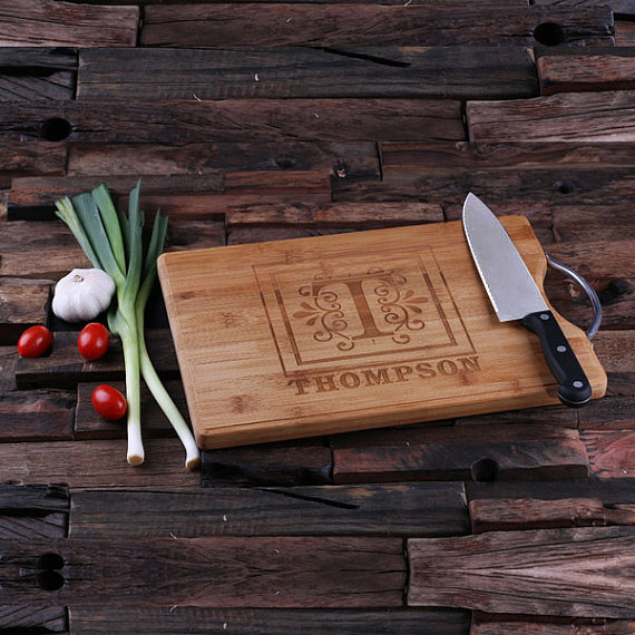 Personalized Bamboo Cutting Board with Steel Handle