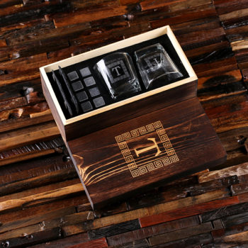 2 Slate Coasters, 2 Whiskey Glasses and 8 Sipping Stones with Engraved Wood Box