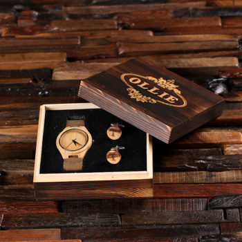 """Rustic"" Personalized Wood Watch, Cuff Links & Engraved Box"
