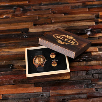 """Savannah"" Personalized Wood Watch, Cuff Links & Engraved Box"
