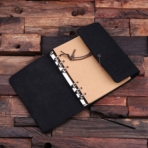 Black Personalized Felt Journal, Pen & Water Bottle Gift Set T-025321-Black