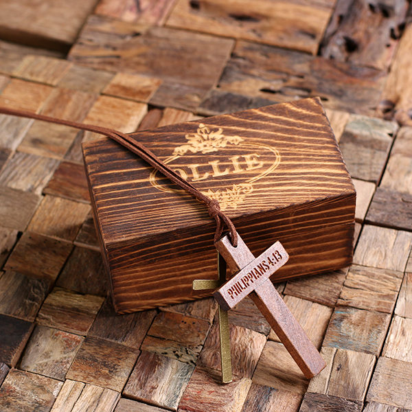 Personalized Brown Wood & Brass Cross with Leather Necklace & Box