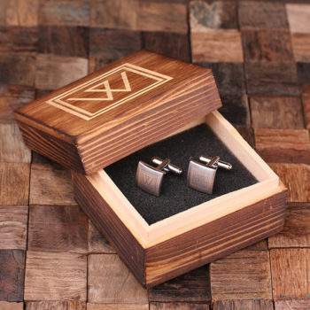 Classic Square Personalized Engraved Cuff Links Inside Wood Box T-025063