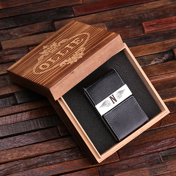 Personalized Black Leather Business Card Holder & Wood Box T-025051