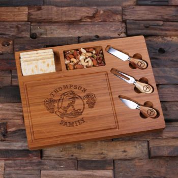 Personalized Cheese & Cracker Board with 3 Cutting Tools T-025209