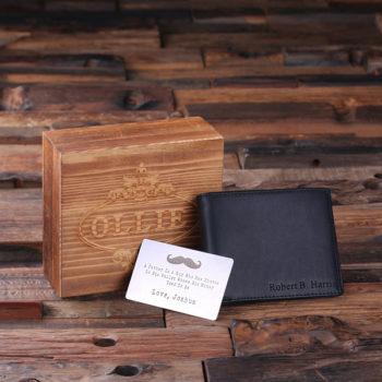 Personalized Genuine Leather Bi-fold Men's Wallet, Wallet Card & Wood Box T-025203