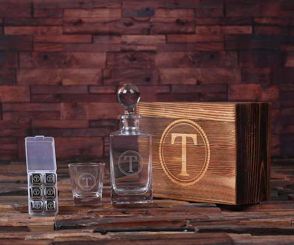 Personalized Scotch Decanter Bottle, Glass & 6 Ice Cubes Set with Keepsake Wood Box T-025246