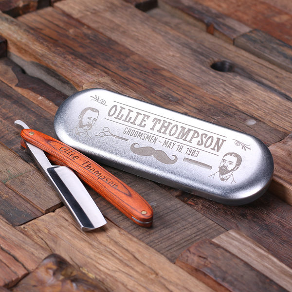 Personalized Wood Handle Straight Razor Blade with Tin Box T-025145