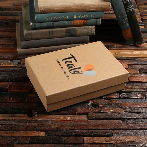 Customized personalized black kraft paper boxes.